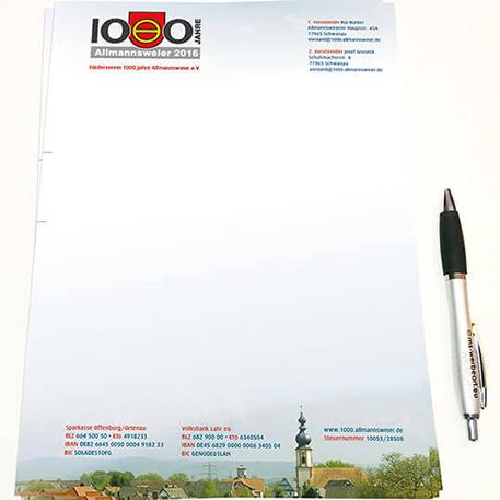 Förderverein 1000 Jahre Allmannsweier | Briefpapier | Gestaltung & Druck