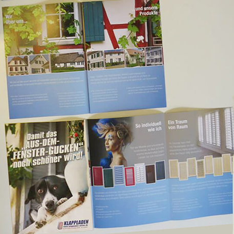 Klappladen-Online | Faltblatt | Gestaltung & Druck